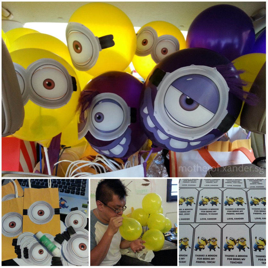 minion balloons and minion goodie bags